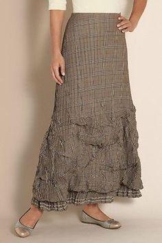 f796bf003e Women s S Soft Surroundings Vivian Skirt Glen Plaid Crinkled Maxi RARE  Skirt Fashion