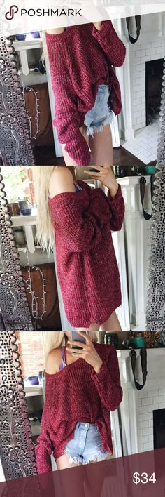 Luna Maroon Slouchy Off The Shoulder Sweater Gorgeous + so soft. Slight waffle Knit woven design and a slouchy fit. Medium oversized fit. Sweaters Crew & Scoop Necks