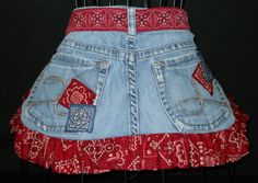 Recycled Jean Cowgirl Hostess Apron. $25.00, via Etsy.