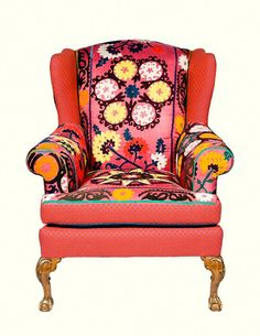 Bohemian  Mod 1975 Vintage Suzani Chair by marikasuzanifurnitur,