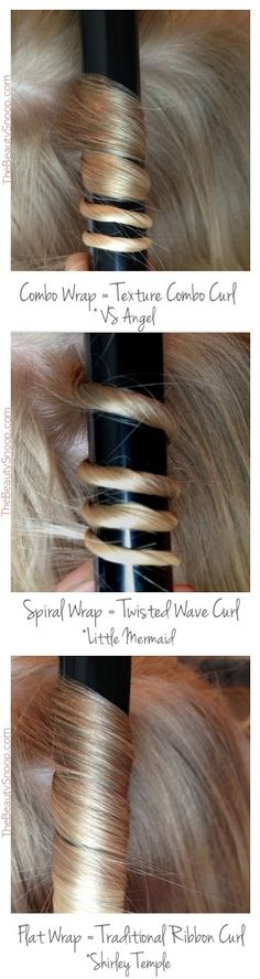 How to curl hair 3 different ways with one curling rod. Techniques.