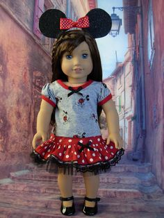 Famous Mouse fits American Girl Doll and 18 by WeeWhimzyWardrobe All American Girl Dolls, American Girl Crafts, American Girl Clothes, Ag Doll Clothes, Doll Clothes Patterns, Doll Patterns, Wellie Wishers, Doll Costume, Doll Dresses