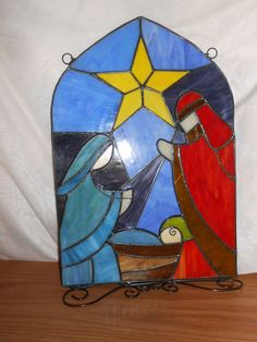 Stain Glass Christmas Nativity Scene -Nativity Panel,Colored glass-17.25""