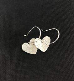 Heart Earrings, Drop Earrings, Black Business Card, Silver Jewellery, Minimalist Jewelry, Sterling Silver Earrings, Metal, Gifts, Heart Pendants