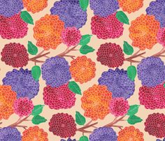 Autumn Mums fabric by designs_by_lisa_k on Spoonflower - custom fabric