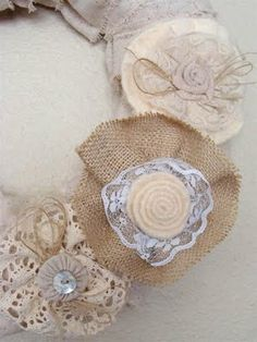 Love the burlap flowers...so in love with anything burlap n lace.