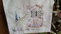 Pretty Vintage Embroidered Crinoline Girl Hollyhocks Rambling Rose Panel 20 x19