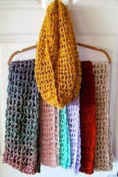 This pattern is for an open weave mesh look infinity scarf. Photos show scarf doubled. It is very easy and takes about an hour to m...
