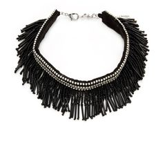 Amrita Singh Women's Linda Fringe Choker - Black ($49) ❤ liked on Polyvore featuring jewelry, necklaces, black, long choker, beading necklaces, amrita singh necklace, long necklace and beaded necklaces