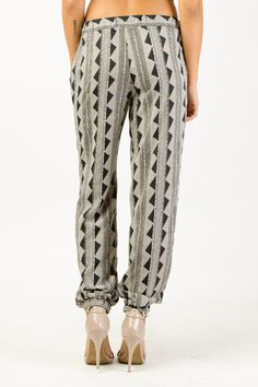 Abstract Print Elastic Waistband Trousers