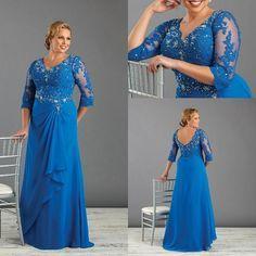 Royal Blue Long Mother of the Bride Dresses Plus Size Chiffon Lace Appliques Evening Dresses V Neck Wedding Party Dresses for Fat Women #dhgatePin