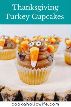 make your cupcakes look like thanksgiving turkeys by using candy corn, pretzels, candy eyes and chocolate chips #thanksgiving #baking #cupcakes