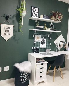 Beautiful Home Office Space! – Megan Roseanne Beautiful Home Office Space! Beautiful Home Office Space! Study Room Decor, Room Decor Bedroom, Bedroom Green, Bedroom Office, Modern Bedroom, Cozy Bedroom, Minimalist Bedroom, Bedroom Ideas, Cool Room Decor
