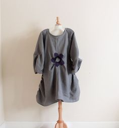 custom plus size flower fold gray linen dress. $148.00, via Etsy.