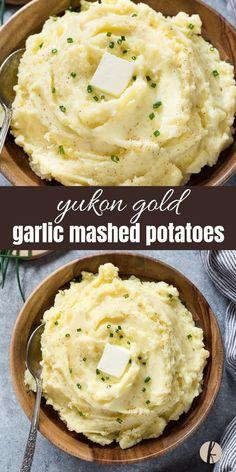 Yukon Gold Garlic Mashed Potatoes are yukon gold potatoes and garlic mashed to creamy fluffy perfection! via Yukon Gold Garlic Mashed Potatoes are yukon gold potatoes and garlic mashed to creamy fluffy perfection! via Flavor the Moments Yukon Gold Mashed Potatoes, Best Garlic Mashed Potatoes, Crockpot Mashed Potatoes, Perfect Mashed Potatoes, Homemade Mashed Potatoes, Pressure Cooker Mashed Potatoes, Yukon Potatoes, Fluffy Mashed Potatoes, Snacks