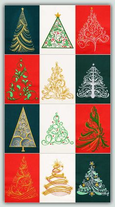 Festive, fast stitching Trees for all kinds of projects! Make a quilt, a pillow, decorate a shirt, ring them around a skirt, make Christmas cards - any where you want to add a little Christmas. These Trees are perfect for adding lots of bling: crystals, beads or glitter. You can also stitch all of them in only one color. 12 designs each in 4 sizes - small to jumbo. Companion set: O Christmas Time!