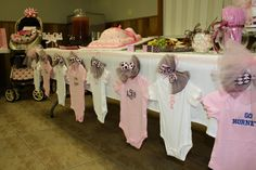 baby shower clothesline | Here is her table - I love the idea of a clothes line. I stole this ...