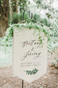 Linen Wedding Welcome Sign This simple welcome banner is the perfect touch for an outdoor wedding ceremony that may need some extra signage to guide your wedding guests to the correct ceremony location! The live greenery decorating the top of the sign t Wedding Ceremony Ideas, Wedding Signage, Wedding Reception Decorations, Wedding Ceremonies, Fall Wedding, Wedding Banners, Garden Wedding, Wedding Banner Design, Wedding Venues