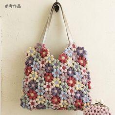 Crochet flower bag - link appears broken but pic pinned for pinspiration Mode Crochet, Crochet Shell Stitch, Diy Crochet, Crochet Crafts, Crochet Stitches, Crochet Projects, Crochet Handbags, Crochet Purses, Crochet Bags