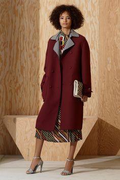 Bottega Veneta   Pre-Fall 2016   06 Red coat and multicolored striped midi dress