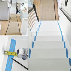 Installing a Seagrass Stair Runner Use painter's tape to mark the exact perimeters of your stair runner.the stair runner can easily get misaligned.