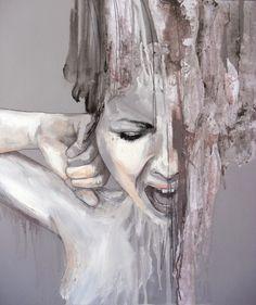 "red-lipstick: ""Jessica Rimondi (b. 1987, Turin, Italy, based in Germany) - Gravità, 2012 Mixed Media on Wood """