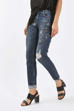 MOTO Beaded Lucas Jeans - Topshop USA