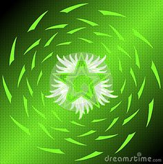 Image representing the Flaming Star, one of the most important esoteric symbols in the world, on a colorful abstract background. An idea that can be used in different ideas.
