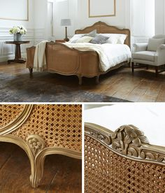 Reine De France Caned Wooden Bed from Simon Horn. This important design period has inspired a feminine finish to this beautiful bed. Cane Furniture, Diy Pallet Furniture, French Furniture, Furniture Design, Cozy Bedroom, Bedroom Decor, Whimsical Bedroom, French Bed, Antique Beds