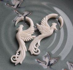 Hand Carved White Bone Fake Gauges  PHOENIX by SanskritDream, $30.00