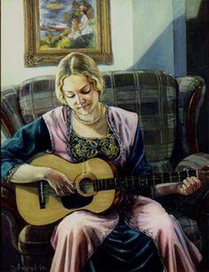 The guitarist, oil painting,  by Dominique Amendola
