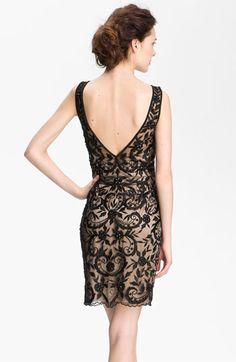 Sue Wong Embroidered Overlay V-Back Sheath Dress | Nordstrom