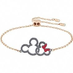 Mark Mickey Mouse's anniversary with this cool bracelet. Plated in rose gold, it features entwined silhouettes of Minnie and Mickey, decorated with black and red pav Find out Mens Silver Necklace, Silver Necklaces, Silver Jewelry Cleaner, Silver Rings Online, Fashion Jewelry, Women Jewelry, Disney Jewelry, Body Jewellery, Sea Glass Jewelry