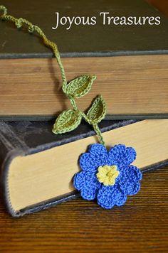 Handmade Crochet Flower Bookmark Vibrant Blue by joyoustreasures