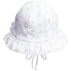 f552bf47949 Kissy Kissy girls white sun hat made from soft pima cotton jersey with an  all over