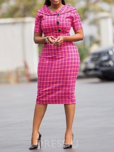 Ericdress Short Sleeve Knee-Length Plaid Bodycon Dress Online store for the latest fashion & trends in women's collection. Shop affordable ladies' Dresses, Clothing, Shoes & Accessories with top quality. Plaid Fashion, Look Fashion, Fashion Outfits, Dress Fashion, Cheap Fashion, African Attire, African Wear, Office Dresses For Women, Ladies Dresses