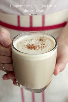 A rich homemade chai tea latte that's simple to make. A real deal chai tea latte with real ingredients. Includes instructions for pumpkin chai tea latte. Yummy Drinks, Healthy Drinks, Yummy Food, Healthy Food, Healthy Recipes, Nutrition Drinks, Simple Recipes, Refreshing Drinks, Tasty