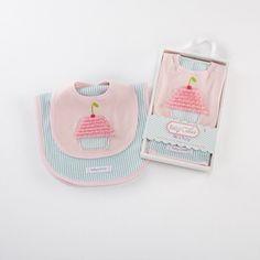 Baby Cakes Bib & Burp Set from Baby Aspen