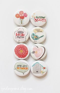 Birds & Flowers Flair Button. $6.00, via Etsy.