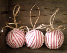 Candystripe Ticking  Set of 3 Red Ticking by smilemercantile, $17.50