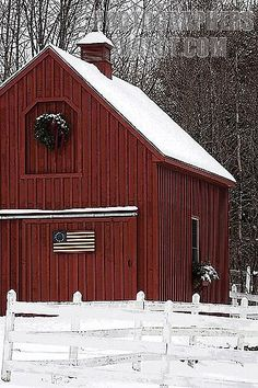 Our new house has a shed. not a barn, but I like this color red. and love the rustic american flag. I could do that.
