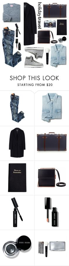 """Travel in Style, Holiday Edition"" by helenevlacho ❤ liked on Polyvore featuring H&M, Madewell, Diemme, MSGM, Globe-Trotter, Leathersmith, Lautēm, Bobbi Brown Cosmetics, travelstyle and contestentry"