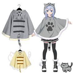 [Reservation] Neko Atsume Kitty Cat Sweater Hoodie Cloak Cape CP168276