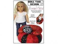 American Girl Doll clothes Pattern -Round bean bag chair | Liberty Jane Doll Clothes Patterns For American Girl Dolls
