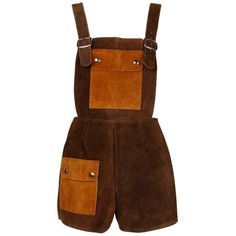 Preowned 1970s Vintage Two-tone Brown Suede Leather Shorts Overalls... (500 CAD) ❤ liked on Polyvore featuring dresses, playsuits, shorts, jumpsuits, vintage and brown Pretty Outfits, Cool Outfits, Fashion Outfits, Mode Hip Hop, Vintage Jumpsuit, Overalls Vintage, Leather Shorts, Mode Vintage, Character Outfits