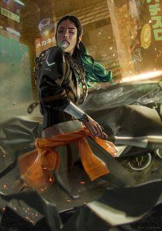 ArtStation - a punk that is cyber, Michael Bridge Cyberpunk 2077, Cyberpunk Girl, Arte Cyberpunk, Cyberpunk Character, Character Portraits, Character Art, Character Concept, Science Fiction, Futuristic Art