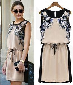 Print Dresses Fashion 2014 Summer Female Vest top Chiffon Casual Dress Women Sleeveless Knee Length Vintage Girls free shipping US $20.00