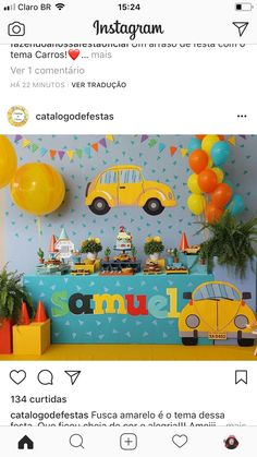 Simple Cars Birthday Party 63 Ideas For 2019 Baby Boy Birthday Decoration, Birthday Themes For Boys, Baby Boy 1st Birthday, Cars Birthday Parties, Birthday Party Decorations, Car Themed Birthday Party, Transportation Birthday, Ideas Party, Threenager