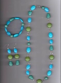 Turquoise in Blues and Greens Handmade Turquoise Arcylic Beads Necklace Set