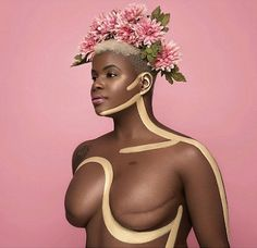 A gallery of breast cancer survivors beautifully displaying their mastectomy scars.